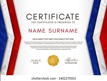 Certificate template with France flag (blue, white, red colors) frame and gold badge. White background design for Diploma, certificate of appreciation or award