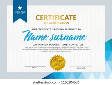 certificate template with geometric and modern pattern vector illustration