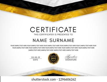 Certificate template with geometry frame and gold badge. White background design for Diploma, certificate of appreciation or award