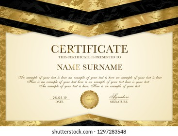Certificate template with geometry frame and gold badge. Gold background design for Diploma, certificate of appreciation, achievement, completion, of excellence, award