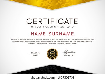 Certificate template with geometry gold and black frame and badge on white background. Design for Diploma, certificate of appreciation or award