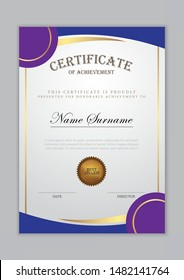 Certificate template with gold element and modern design pattern,diploma,vector illustration