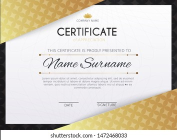 Certificate template with golden decoration element. Design diploma graduation, award. Vector illustration.