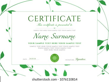 Certificate template with Green floral pattern frame (leaves). Design certificate of completion useful for diploma, invitation, gift voucher, coupon, Eco friendly awards (inspired by nature ). Vector