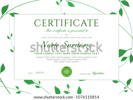certificate template with green floral pattern frame leaves design certificate of completion useful
