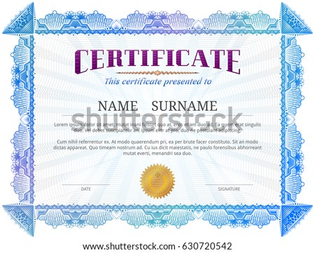 Certificate Template Guilloche Elements Blue Diploma Stock Vector