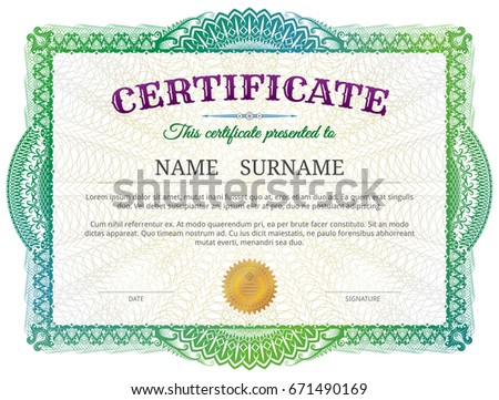 Certificate Template Guilloche Elements Green Diploma Stock Vector