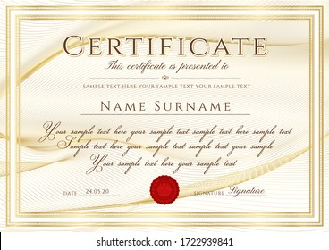 Certificate template with Guilloche pattern (lines), golden frame border and red wax seal. Gold background for Diploma, deed, certificate of appreciation, achievement, attendance, award plaque design