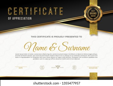 Certificate template with guilloche pattern qnd luxury golden elements. Diploma template design. Vector illustration.