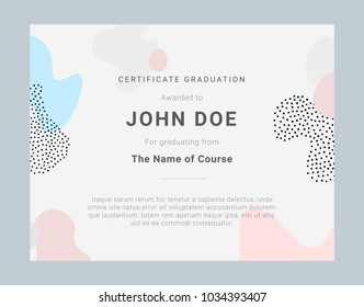 Certificate template with hand drawn textures, memphis style. Universal cards, pastel colors. Retro design, fashion art