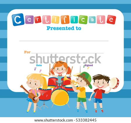 Certificate Template Kids Band Illustration Stock Vector Royalty