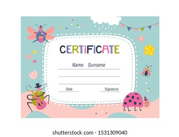 Certificate template for kids on colorful background with beetles and flowers for school, preschool or playschool. Vector illustration