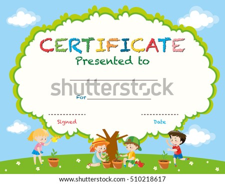certificate template with kids planting trees illustration - Certificate Template For Kids