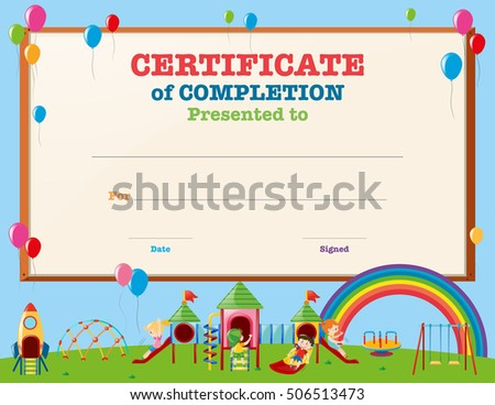 Certificate Template Kids Playground Illustration Stock Vector