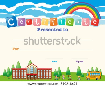 certificate template with kids at school illustration - Certificate Template For Kids