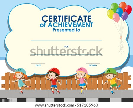 certificate template with kids skating illustration - Certificate Template For Kids