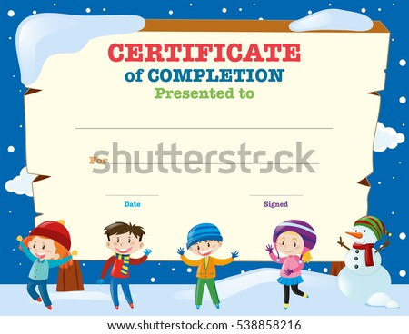 Certificate Template Kids Snow Illustration Stock Vector Royalty