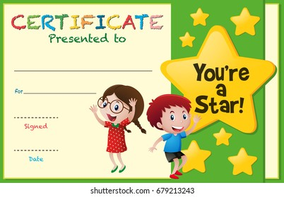 Certificate template with kids and stars illustration