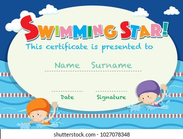 Certificate template with kids swimming illustration