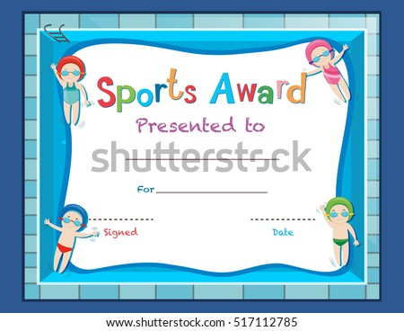 certificate template with kids swimming illustration - Certificate Template For Kids