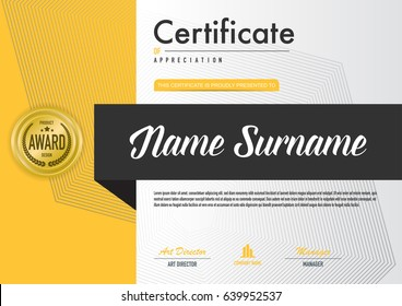 Certificate template luxury and diploma style, vector illustration.