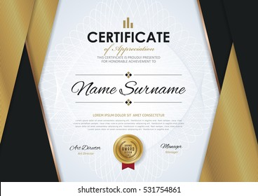 certificate template with Luxury golden elegant pattern, Diploma design graduation, award, success.Vector illustration.