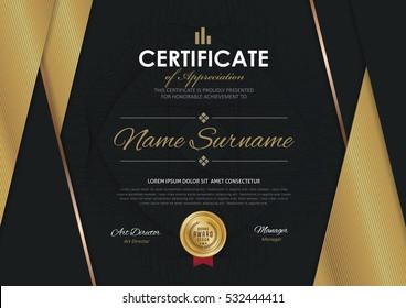 Award certificate images stock photos vectors shutterstock certificate template with luxury golden elegant pattern diploma design graduation award success yadclub Gallery