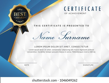 certificate template with luxury and modern pattern, appreciation award  diploma template of  blue and golden shapes and badge.