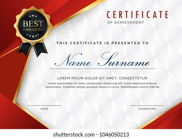 certificate template with luxury and modern pattern, appreciation award  diploma template of  red and golden shapes and badge.