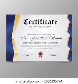 Certificate template with luxury and modern pattern,diploma,Vector illustration.Outstanding achievement diploma. gold red blank frame certificate,