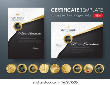certificate template with luxury pattern,diploma,Vector illustration and vector Luxury premium badges design,Set of retro vintage badges.