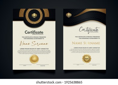 certificate template with Luxury realistic texture pattern,diploma and vector Luxury premium badges design. Vector illustration