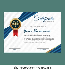 Certificate template with luxury ribbon and modern pattern with red, blue and golden shapes and badge