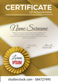 Certificate template with luxury rosette bow and ribbons.