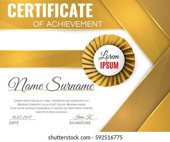 certificate template with luxury rosette bow and ribbons