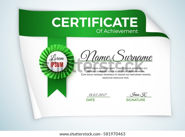Certificate template with luxury satin ribbon rosette bow.