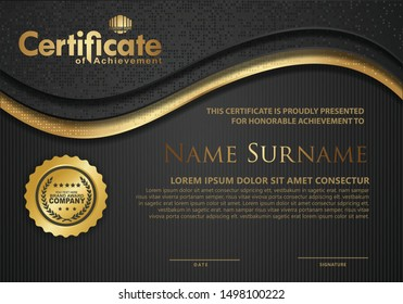 Certificate template with luxury and wave elegant glitters texture and modern pattern background, diploma, Vector illustration