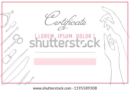 Certificate Template Manicure Nail Design Diploma Stock Vector