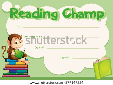 Certificate Template Monkey Reading Book Illustration Stock Vector