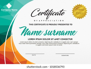 certificate template with polygonal style and modern pattern vector illustration