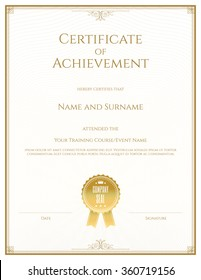 Certificate template in portrait and vector for achievement graduation completion