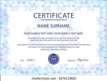 certificate template printable editable design diploma stock vector