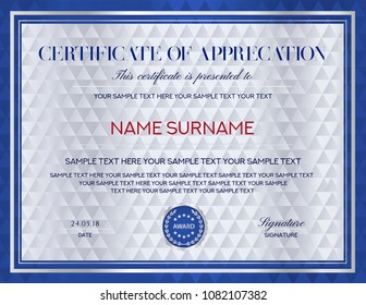 Certificate template. Printable / editable design for Diploma, certificate of appreciation, certificate of achievement, certificate of completion, of excellence, of attendance template, award template