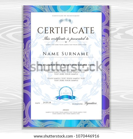 Certificate Template Printable Editable Design Diploma Stock Vector