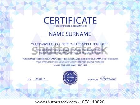 Certificate template printable editable design diploma stock vector certificate template printable editable design for diploma certificate of appreciation certificate of maxwellsz