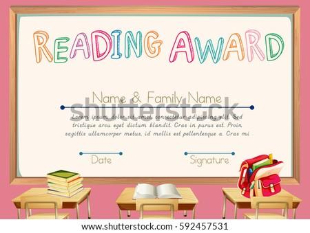 Certificate Template Reading Award Illustration Stock Vector