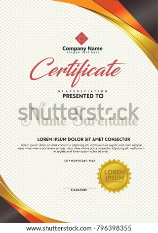Certificate Template Red Gold Color Vertical Stock Vector Royalty