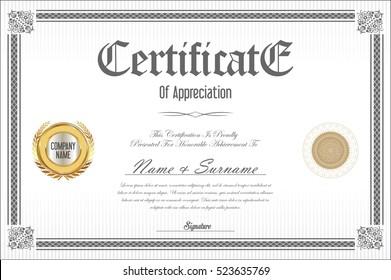 Certificate template retro design