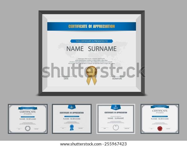 Certificate template set,photo frame,vector