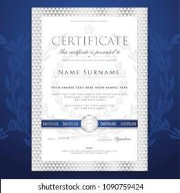 Certificate template, Silver Diploma design certificate of achievement, certificate of completion, certificate of appreciation, of excellence, of attendance template, award template